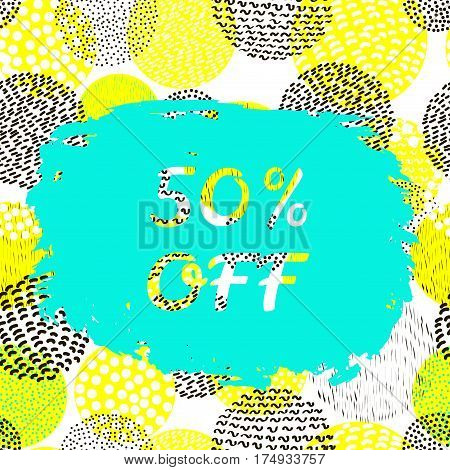 Sale creative bunner. Colorful vector background. 50% off.