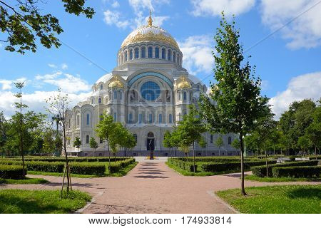 Kronstadt Russia - July 14 2016: Largest of the Naval Cathedral of the Russian Empire. Erected in the years 1903-1913.