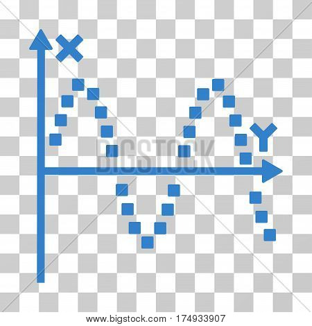 Sine Plot icon. Vector illustration style is flat iconic symbol cobalt color transparent background. Designed for web and software interfaces.