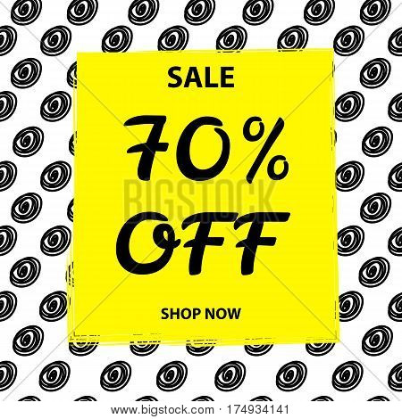 Sale bunner background. 70% off. Black and yellow