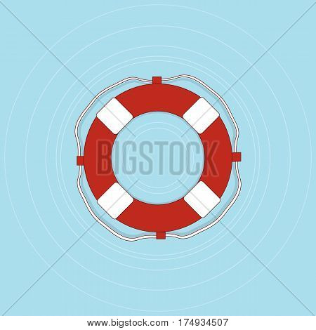 Life buoy with rope in flat style. First aid for a drowning man. Lifeguard red web icon design. Vector illustration.