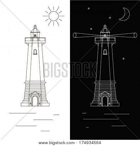 Lighthouse. Icon design trend in a linear fashion. The concept of navigation. Sun water Seagull. Isolated on a white background.The signal tower. Vector illustration. Day and night.