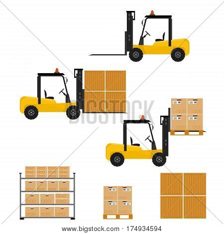 Forklift truck in flat style. Carton and wooden box. Packing and transportation. Delivery service. Work. The rack with the goods. Isolated on white background. Vector illustration.