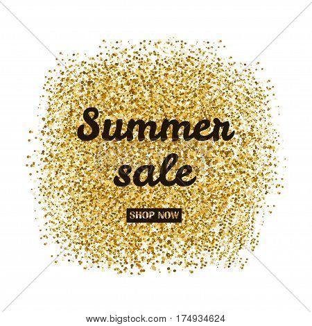 Summer sale poster bunner. Gold creative background.