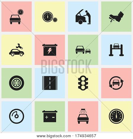 Set Of 16 Editable Traffic Icons. Includes Symbols Such As Treadle, Tuning Auto, Car Fixing And More. Can Be Used For Web, Mobile, UI And Infographic Design.