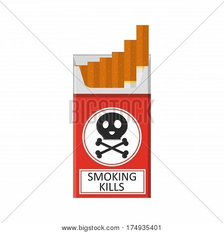 Pack of cigarettes. Flat style. The nicotine dependence. Addiction. The red packaging. Unhealthy habit. Smoking kills. Vector illustration.