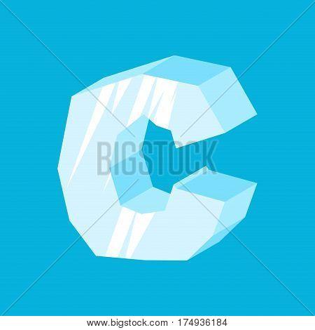 Letter C Ice Font. Icicles Alphabet. Freeze Lettering. Iceberg Abc Sign
