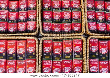 Guadalupe Spain: february 27 2017: Smoked paprika cans for sell. Bittersweet hot and sweet Caceres Extremadura Spain