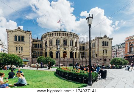OSLO NORWAY - JULY 31: The Storting building the parliament of Norway located in central Oslo. It was taken into use on 5 March 1866 and was designed by the Swedish architect Emil Victor Langlet.