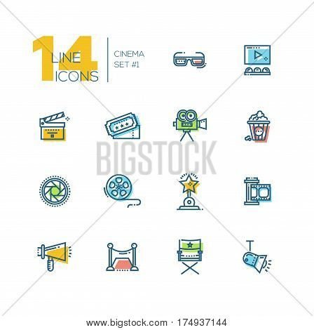 CInema and movie - set of modern vector thick line design icons with accent color. 3d glasses, film, pop corn, camera, award, ticket, movie hall, clapperboard, roll, megaphone, red carpet, director chair, light shutter.