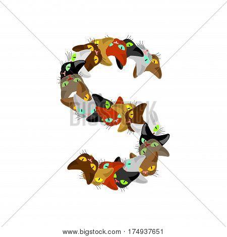 Letter S Cat Font. Pet Alphabet Symbol. Home Animal Abc Sign