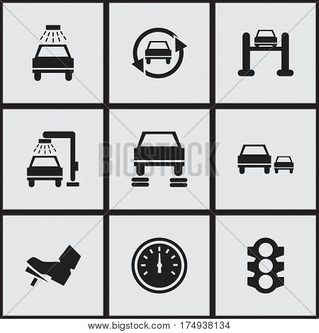 Set Of 9 Editable Vehicle Icons. Includes Symbols Such As Stoplight, Auto Service, Speed Control And More. Can Be Used For Web, Mobile, UI And Infographic Design.
