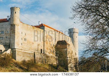 Toompea Castle and Pikk Hermann or Tall Hermann tower Tallinn Estonia