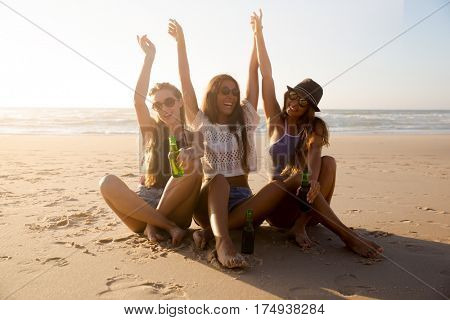 Best friends having fun on the beach