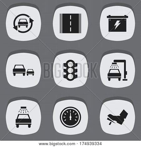 Set Of 9 Editable Traffic Icons. Includes Symbols Such As Treadle, Speed Control, Car Lave And More. Can Be Used For Web, Mobile, UI And Infographic Design.