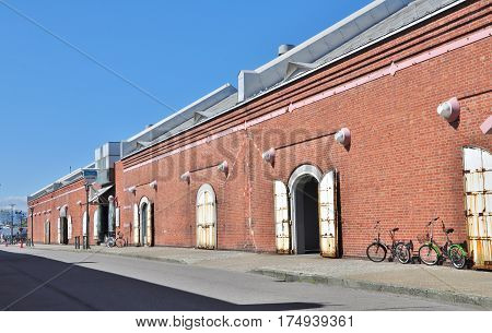 Kanemori Red Brick Warehouses at Hakodate, Japan. The brick warehouses built in 1909 were totally renovated, contain about 50 restaurants and souvenir stores.
