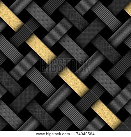 Seamless background pattern. Interweaving black pattern with a gold strip in a material design style.