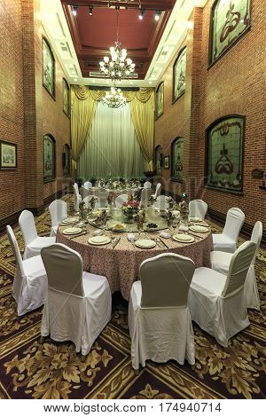 Shanghai, China - March 2, 2017: Dining Room Inside The Astor House Hotel, A Famous Landmark Of Shan
