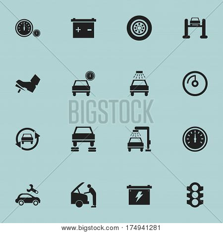 Set Of 16 Editable Car Icons. Includes Symbols Such As Tuning Auto, Speedometer, Car Lave And More. Can Be Used For Web, Mobile, UI And Infographic Design.