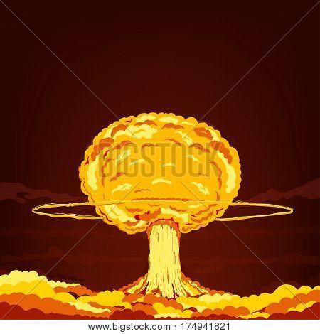 Cartoon vector illustration. Nuclear explosion. Color Art