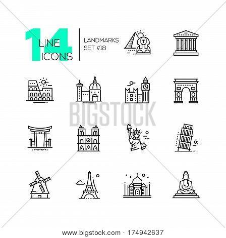Landmarks - vector modern single line icons set. Differents landmarks as Statue of Liberty, Taj Mahal, Tower of London, Pyramid, Torii.