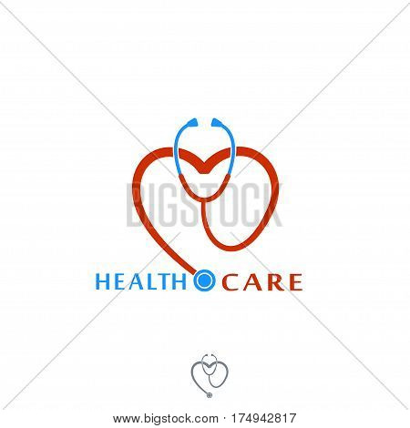 Health care Icon Logo. Tonometer with heart. Label or logo for Hospital. Vector Isolated on White background.