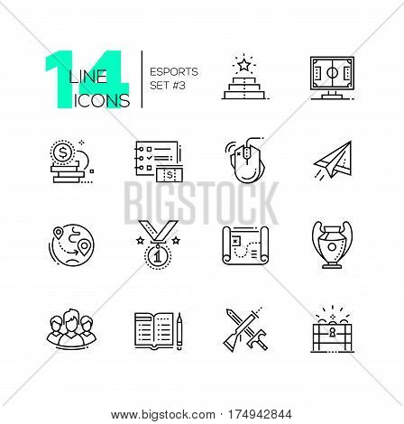Esports - vector modern single line icons set. Pedestal, monitor, gaming mouse, paper plane, firts place medal, map, cup, team, chest.