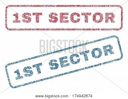 1st Sector text textile seal stamp watermarks. Blue red fabric vectorized texture. Vector caption inside rounded rectangular shape. Rubber sign with fiber textile structure.