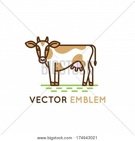 Emblem With Cow - Illustration For Milk And Dairy Industry