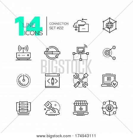 Connection - monochromatic vector modern single line icons set. Cloud, interlink, power button, folder, drive, key, laptop, check, internet, router.