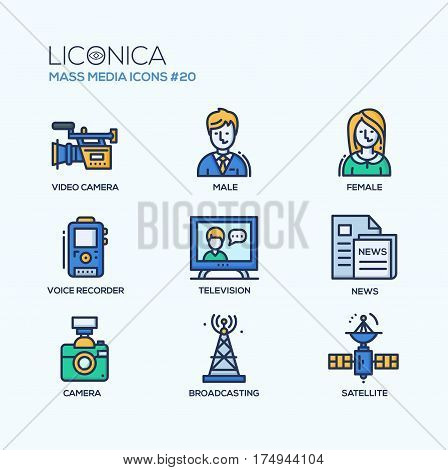 Mass Media - colored vector modern single line icons set. Male, female reporter, voice, recorder, camcorder, camer, tv tower, newspaper, satellite, television