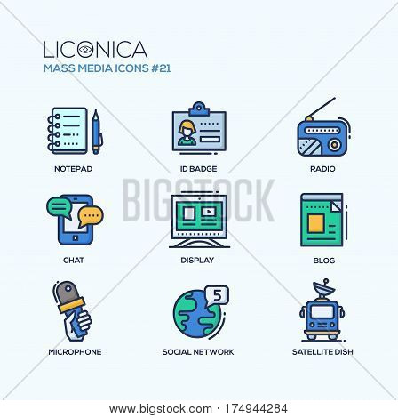 Mass Media - coloured modern single line icons set. Notepad, pen, id badge, radio, mobile chat, monitor, blog, hand holding microphone, globe, social network, van, satellite dish.