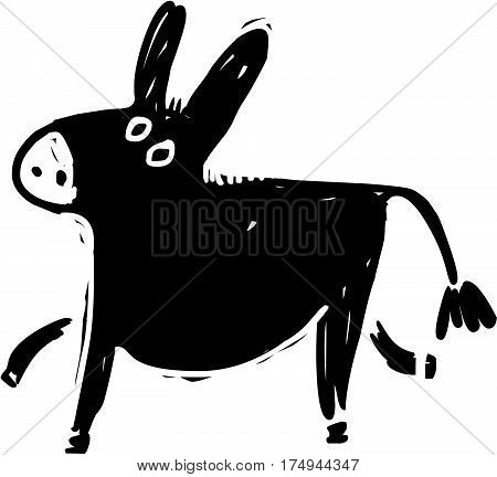 Funny , black , vector donkey in grunge style
