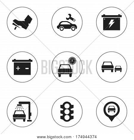 Set Of 9 Editable Transport Icons. Includes Symbols Such As Treadle, Battery, Automotive Fix And More. Can Be Used For Web, Mobile, UI And Infographic Design.