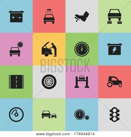 Set Of 16 Editable Vehicle Icons. Includes Symbols Such As Treadle, Stoplight, Battery And More. Can Be Used For Web, Mobile, UI And Infographic Design.