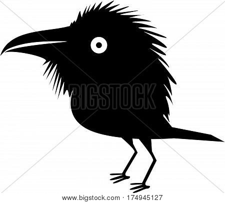 Funny black cartoon crow , vector illustration