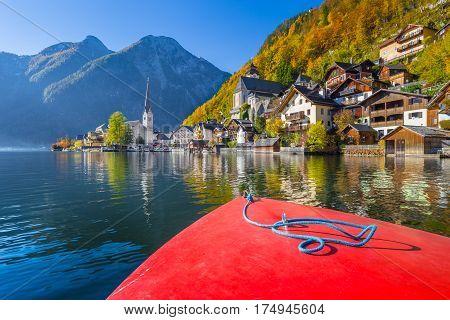 Classic View Of Hallstatt From A Boat, Salzkammergut, Austria