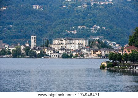 San Giulio, Italy - 7 September 2016: View of the island of San Giulio in Lake Orta, Italy
