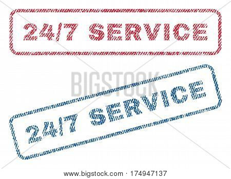 24-7 Service text textile seal stamp watermarks. Blue red fabric vectorized texture. Vector caption inside rounded rectangular banner. Rubber emblem with fiber textile structure.