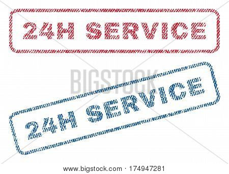 24H Service text textile seal stamp watermarks. Blue red fabric vectorized texture. Vector tag inside rounded rectangular banner. Rubber sticker with fiber textile structure.