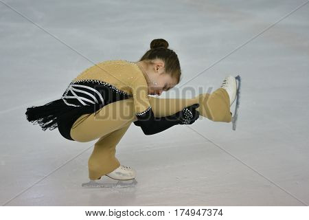 Orenburg, Russia - February 20, 2017 Year: Girls Compete In Figure Skating