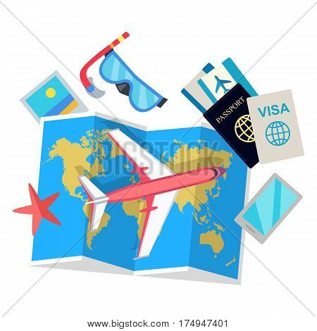 Vector illustrations of plane, map, smartphone, water star, underwater mask, visa, passport, photo. Course of trip and amazing adventure, flight and rest. Poster on the wall in travel company office.