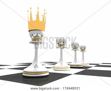 Leadership concept. chess pawn wth crown. 3d renderd illustration