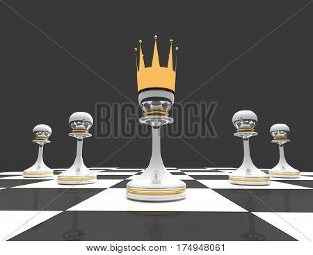 Leadership concept. chess pawn with crown. 3d rendered illustration