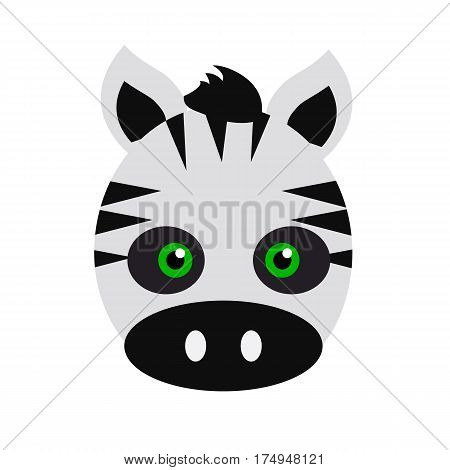 Zebra animal carnival mask vector illustration in flat. Striped black and white mammal. Funny childish masquerade mask isolated on white. New Year masque for festivals, holiday dress code for kids