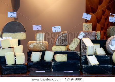 Variety of cheese on display at Borough Market in London