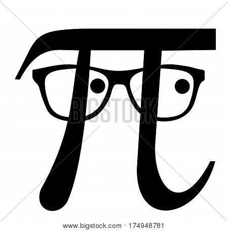Pi geek whit glasses black, Greek letter,