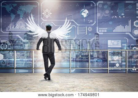 Angel investor concept with businessman with wings poster