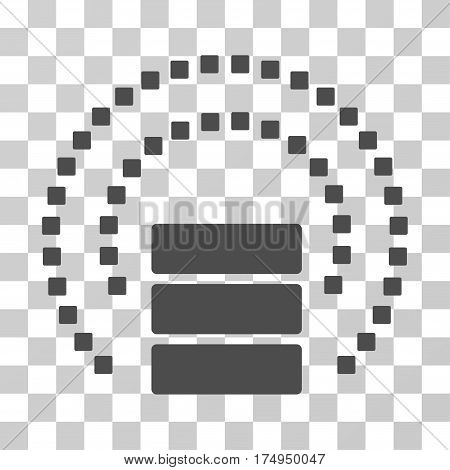 Database Sphere Shield icon. Vector illustration style is flat iconic symbol, gray color, transparent background. Designed for web and software interfaces.