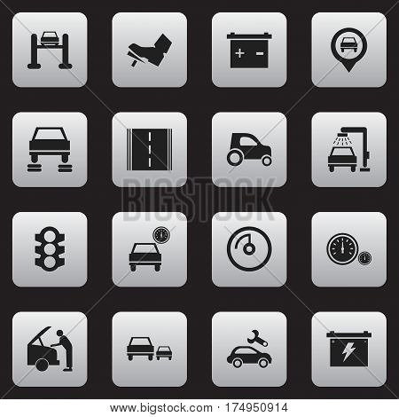 Set Of 16 Editable Transport Icons. Includes Symbols Such As Automotive Fix, Stoplight, Auto Service And More. Can Be Used For Web, Mobile, UI And Infographic Design.